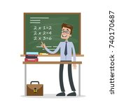 isolated math teacher. man with ... | Shutterstock .eps vector #740170687