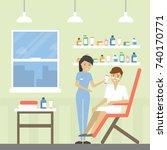 spa for men. beauty treatment... | Shutterstock .eps vector #740170771