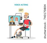 voice acting man with mic and... | Shutterstock .eps vector #740170804