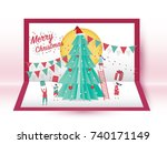 christmas card concept and... | Shutterstock .eps vector #740171149