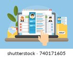 resume for work. reviewing the... | Shutterstock .eps vector #740171605