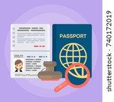 opened female's passport.... | Shutterstock .eps vector #740172019