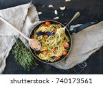 pasta spaghetti with pesto... | Shutterstock . vector #740173561