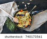 pasta spaghetti with pesto... | Shutterstock . vector #740173561