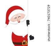 santa claus behind banner sign... | Shutterstock .eps vector #740173729