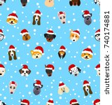 seamless pattern with different ... | Shutterstock . vector #740174881