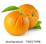 Isolated Oranges. Two Whole...