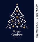 merry christmas tree elements... | Shutterstock .eps vector #740175589