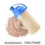 bottle with protein shake and... | Shutterstock . vector #740175685