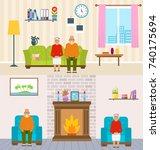 old people home interior... | Shutterstock . vector #740175694