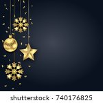 christmas dark background with... | Shutterstock . vector #740176825