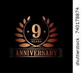 9 years anniversary logo...   Shutterstock .eps vector #740178874