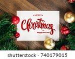 the inscription of merry... | Shutterstock . vector #740179015