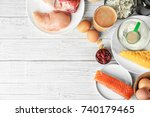 composition with high protein... | Shutterstock . vector #740179465
