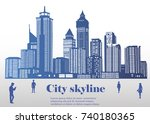 the silhouette of the city in a ... | Shutterstock .eps vector #740180365
