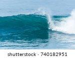 bodyboarder surfing ocean wave... | Shutterstock . vector #740182951