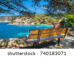 beautiful view of assos village ... | Shutterstock . vector #740183071