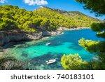 beautiful view of assos beach   ... | Shutterstock . vector #740183101