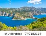 beautiful view of assos village ... | Shutterstock . vector #740183119