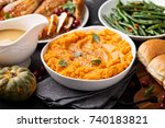 mashed sweet potatoes with... | Shutterstock . vector #740183821