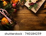christmas background with...   Shutterstock . vector #740184259
