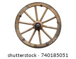Wooden wheel isolated on white...