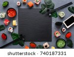top view on traditional... | Shutterstock . vector #740187331