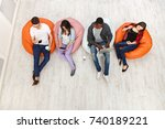 multiethnic young people ... | Shutterstock . vector #740189221