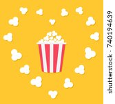 popcorn popping in heart frame. ... | Shutterstock . vector #740194639