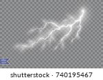 set of lightnings. thunder... | Shutterstock .eps vector #740195467