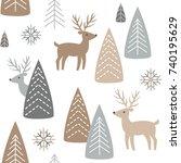 reindeer seamless pattern.... | Shutterstock .eps vector #740195629