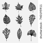 black leaf shapes set  vertical ... | Shutterstock .eps vector #740195911