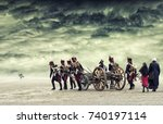 Napoleon soldiers marching in open land with dramatic cloud, The Battle of Austerlitz. The Battle of the Three Emperors