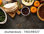 thanksgiving table with turkey  ... | Shutterstock . vector #740198527