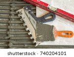 ceramic tiles and tools for... | Shutterstock . vector #740204101