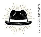 hand drawn fedora hat textured... | Shutterstock .eps vector #740204824