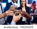 people are preparing to meet... | Shutterstock . vector #740205355