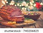 glazed holiday ham  | Shutterstock . vector #740206825