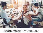 multiracial young creative... | Shutterstock . vector #740208307