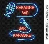 roadside karaoke night club...   Shutterstock .eps vector #740210149