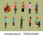 different office people sitting ... | Shutterstock .eps vector #740210344