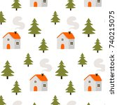 simple pattern with cute... | Shutterstock .eps vector #740215075