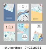set of creative trendy cards.... | Shutterstock .eps vector #740218381