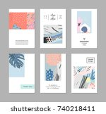 set of creative trendy cards.... | Shutterstock .eps vector #740218411