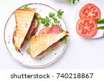 tasty sandwiches with salami ... | Shutterstock . vector #740218867