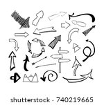 hand drawn sketch doodle arrows ... | Shutterstock .eps vector #740219665