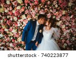 beautiful bride and groom on...   Shutterstock . vector #740223877