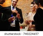 happy beautiful couples... | Shutterstock . vector #740224657