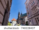view to the red roofs of brno... | Shutterstock . vector #740228437