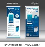 mobile apps roll up banner... | Shutterstock . vector #740232064